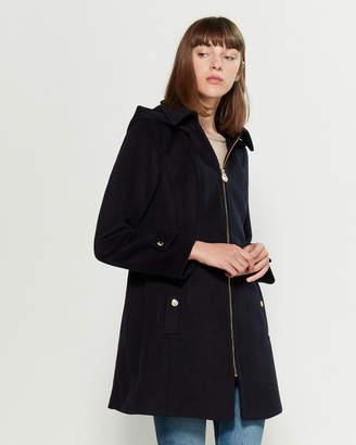 MICHAEL Michael Kors Removable Hood Zip-Front Wool-Blend Coat
