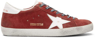 Golden Goose Red Suede Superstar Sneakers
