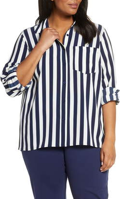 MICHAEL Michael Kors Stripe Oversize Button Front Shirt