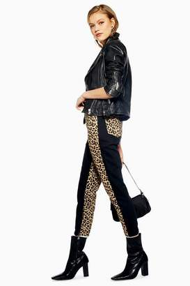 Topshop Womens Leopard Panel Mom Jeans