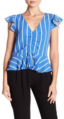 WAYF Striped Flutter Peplum Blouse