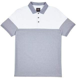 Mens Light Blue and White Cut and Sew Polo Shirt