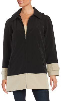 JONES NEW YORK Colorblocked Raincoat $200 thestylecure.com