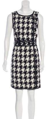 Laundry by Shelli Segal Vegan Leather-Trimmed Patterned Dress