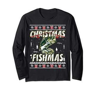 Christmas Fishmas Funny Bass Fishing Long Sleeve Shirt Gift