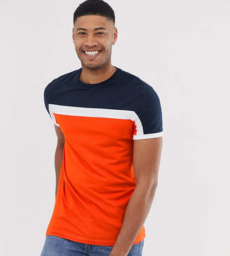 Asos Design DESIGN Tall t-shirt with colour block panels in orange