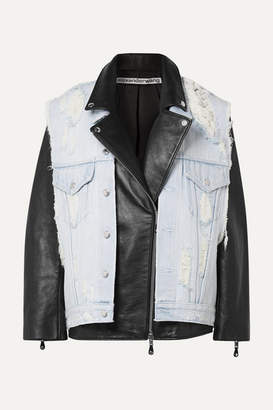 Alexander Wang Layered Distressed Denim And Leather Biker Jacket - Black