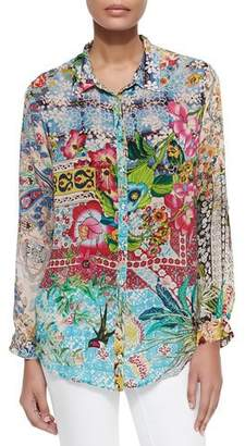 Johnny Was Milla Long-Sleeve Floral-Print Blouse, Petite
