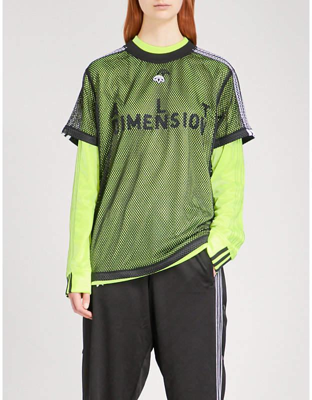 Adidas X Alexander Wang Logo-embroidered sports mesh T-shirt
