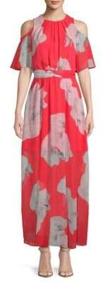 Calvin Klein Floral-Print Tie Maxi Dress