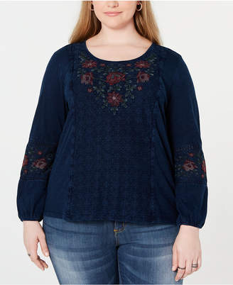 Style&Co. Style & Co Plus Size Embroidered Crochet-Trim Top