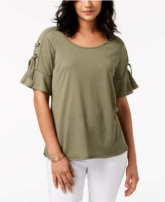 JM Collection Lace Up Ruffle Sleeve Top