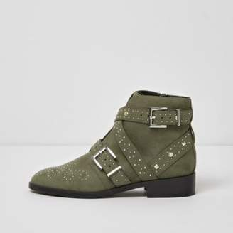 River Island Womens Khaki studded side buckle ankle boots