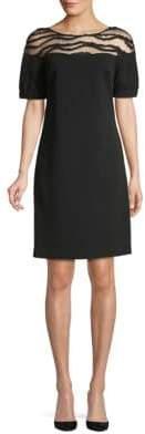 Mesh Short-Sleeve Shift Dress