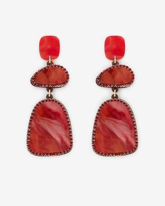 Express Three Stone Resin Rhinestone Drop Earrings