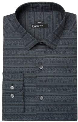 Bar III Men's Slim-Fit Stretch Easy-Care Black Gray Fair Isle Print Dress Shirt, Created for Macy's