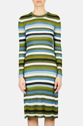 Altuzarra Stills Striped Long Sleeve Knit Dress - Pine