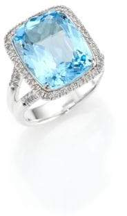 John Hardy Classic Chain Diamond, Blue Topaz& Sterling Silver Ring