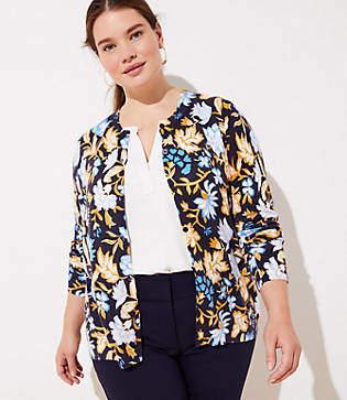 LOFT Plus Floral Signature Cardigan