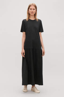 Cos LONG COTTON DRESS WITH FRILL