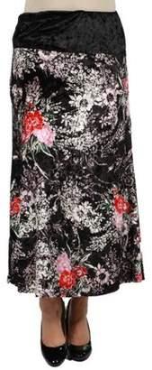 24/7 Comfort Apparel Floral Velvet Skirt