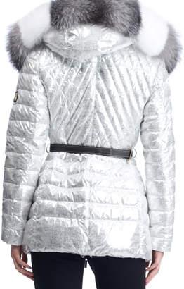 Gorski Apres-Ski Down-Fill Metallic Jacket with Fox Fur Hood