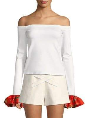 Alexis Kirin Off-The-Shoulder Bell-Sleeve Top