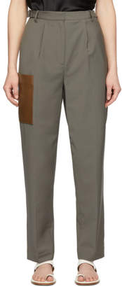 Tibi Grey Plain Weave Tablier Paperbag Trousers