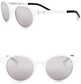 Emporio Armani 51mm Round Acetate Frame Sunglasses