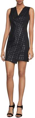 BCBGMAXAZRIA Embroidered Faux Leather Mini Dress