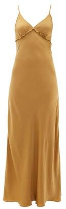 Marios Schwab On The Island By Sealion Satin Maxi Slip Dress - Womens - Gold