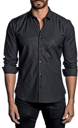 Jared Lang Men's Solid Long-Sleeve Elephant Print Shirt