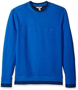 Calvin Klein Jeans Men's Crew Neck Sweatshirt with Tonal Rib Tipping