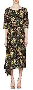 Prada Women's Rose-Print Silk Crepe Long Dress