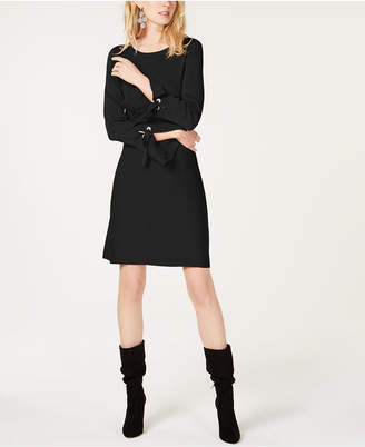 INC International Concepts I.n.c. Grommet Bell-Sleeve Sweater Dress