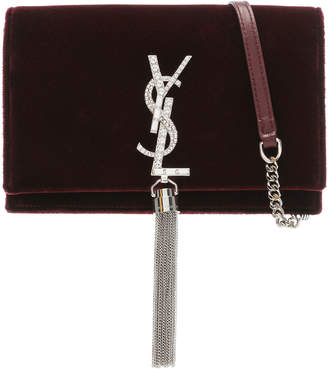 Saint Laurent Crystal Logo Velvet Kate Tassel Chain Wallet
