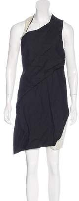 Helmut Lang Leather-Accented Sheath Dress