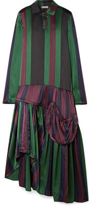 J.W.Anderson Oversized Asymmetric Striped Silk-charmeuse Dress - Green