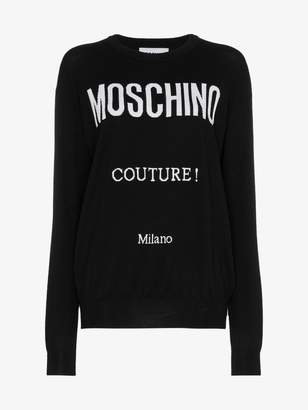Moschino logo knit crew neck sweater