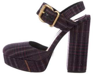 Prada Round-Toe Ankle Strap Sandals Plum Round-Toe Ankle Strap Sandals