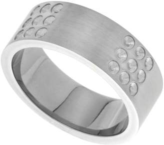 Sabrina Silver Stainless Steel 8mm Wedding Band Ring Dotted Design Matte Finish, size 10