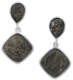 Stephen Dweck Rutilated Quartz & Hematite Doublet Drop Earrings