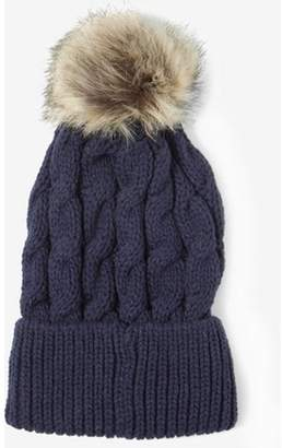 Dorothy Perkins Womens Navy Cable Knit Pom Hat