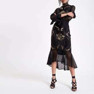 River Island Womens Black sequin embellished peplum midi skirt