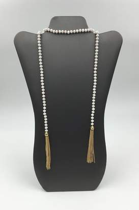 Private Label Sapphire Sky Shimmer-Bead Tassel Necklace