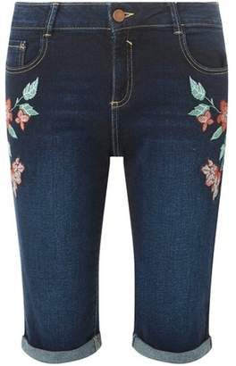 Dorothy Perkins Womens **Tall Indigo Floral Embroidered Shorts