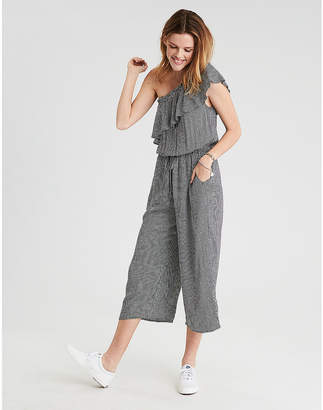 American Eagle AE Gingham One Shoulder Culoutte Jumpsuit