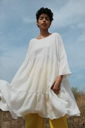 Mansur Gavriel Linen Tiered Dress - White