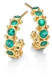 "Temple St. Clair Eternity Emerald& 18K Yellow Gold Hoop Earrings/0.4"""