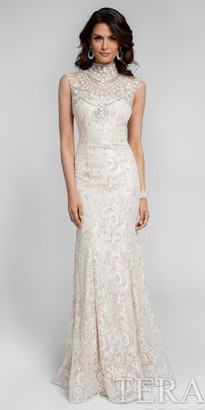 Terani Couture Fitted High Neck Embellished Evening Dress $561 thestylecure.com